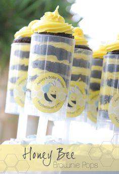 What Will It Bee? Gender Reveal Party Ideas: Honey Bee Brownie Push Pop #BigDot #HappyDot #Spring