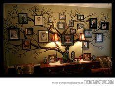 decor, craft, idea, family trees, wall tree, famili tree, hous, family tree wall, families