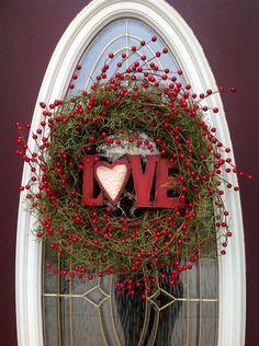 "Valentine's Day Grapevine Door Wreath Decor..""Love Berries""."