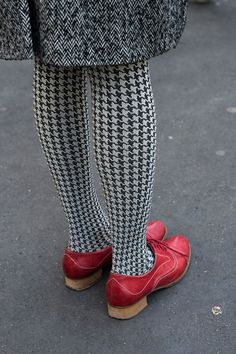 Houndstooth tights and red shoes!