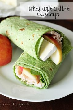 Turkey, Apple and Brie Wrap - a quick, healthy lunch.