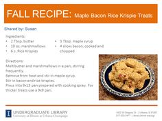 Maple Bacon Rice Krispie Treats recipe from Susan.