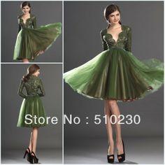 Green Long Sleeve Bridesmaid Dress | Long Lace Sleeve 2013 Tulle Knee Length Light Green Bridesmaid Dress ...