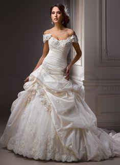 Bordeaux Metallic Taffeta/Soft Shimmer Satin Detachable Cap-sleeve Shoulder Sweetheart Neckline Ball Gown Wedding Dress - Bupop.com