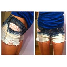 Dip-bleached shorts with lace! DIY
