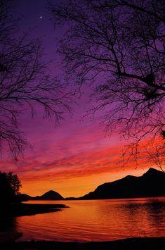 Sunset and Moonrise at Porteau Cove