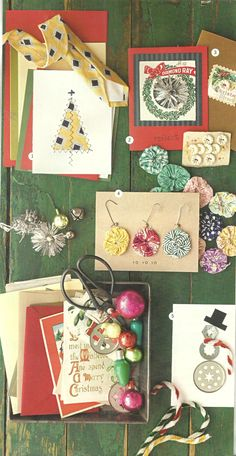 lots of old things to turn into beautiful Christmas cards or decorations