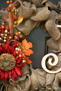 131167407870778580 Pretty fall wreath for front door. The Easiest Fall Burlap Wreath Tutorial