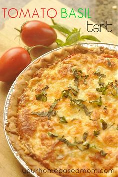 TOMATO BASIL TART   @yourhomebasedmom.com  #tomatoes,#tart,#recipes