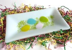 Easter Egg Fun Rectangular Fused Glass Dish by bprdesigns on Etsy, $45.00
