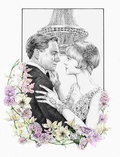 #ElementEdenArtSearch illustration inspired by The Great Gatsby - Graphite pencils, watercolours.