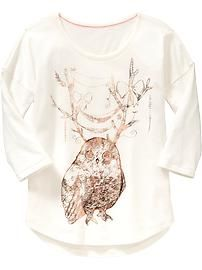Girls owl tee. Littl