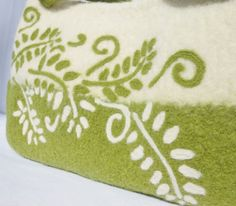 Felted wool fiber art bag in Green and Cream with needle felted fern motifs    Looking for that one of a kind original fiber art bag?    ******Free U.S.