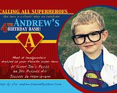 Superhero Birthday Invitation Custom Superman Photo Card, Birthday Party
