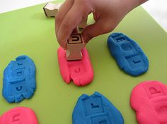 stamp and spell with play dough - great way to practice spelling lists and work on phonics too