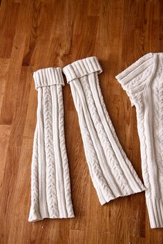 leggings made from an old cable sweater