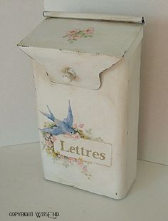 Roses Mailbox painting,  ooak original birds and flowers art on vintage metal mailbox