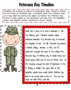 FREE Veterans Day Timeline #VeteransDay www.operationwearehere.com/veteransday.html