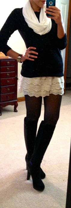 sweater, tall boots, winter style, outfit, black white, white lace, lace skirt, lace shorts, lace dresses