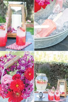 Summer party theme. Fabulous presentation!  Blackberry Salty Dog and Spiked Lemonade garnished with blackberries and strawberries. The cocktails were the perfect foundation for a blackberry and strawberry-colored theme