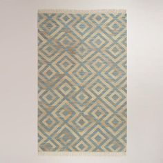 One of my favorite discoveries at WorldMarket.com: 5'x8' Blue Diamond Natural Flat-Woven Wool Rug