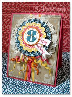 Connie Collins - Artisan Facebook Card for August 2013. Check out the paper ribbons!