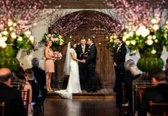 Stunning garden wedding ceremony at Coles Garden with florals by New Leaf Florist. Wedding by About Last Night... Event Planning. Photo by Kevin Paul Photography. #wedding #garden #altar #decor