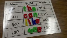 Guided reading in kindergarten. Word, Build, & Write!  Great for sight words and CVC words! Love how it is reusable. Guided reading lesson template. Colored dots under words to help students track print.