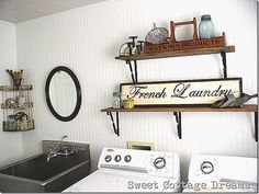 Beautiful white bead board in laundry room