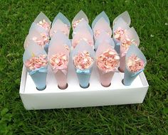 Petal confetti cones - pink for girls and blue for boys!
