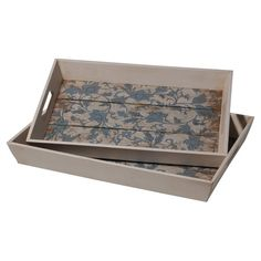 Josh and Main: Perfect catching keys and mail in the entryway or serving cocktails at your next soiree, these wood trays showcase floral details and cutout handles.