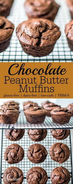 Rich and delicious Chocolate Peanut Butter Muffins made with summer squash. Gluten-free, dairy-free, sugar-free, low-carb, THM-S
