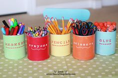 Transform empty cans (formula & hot chocolate) into holders for pencils, crayons, scissors, etc. Paint each can a different color (Martha Stewart Decorative Paints by Plaid Crafts) and paint on labels or use adhesives or stencils.