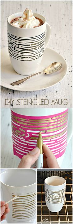 DIY Wood Grain Stenciled Mug Tutorial... So easy to make!