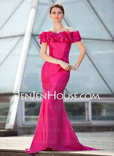 Mother of the Bride Dresses - $138.99 - Mermaid Off-the-Shoulder Sweep Train Taffeta Mother of the Bride Dress With Ruffle (008018926) http://jenjenhouse.com/Mermaid-Off-The-Shoulder-Sweep-Train-Taffeta-Mother-Of-The-Bride-Dress-With-Ruffle-008018926-g18926