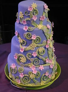 purple and green flowery cake