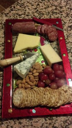 Christmas cheese and meat tray