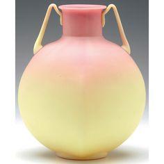 Mt Washington Burmese Handled Square Vase Plush Finish - 7 1/2 inch HOA