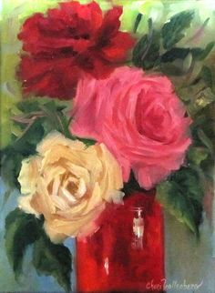 Still Life Oil Painting Red Vase  RedWhitePink by ChatterBoxArt