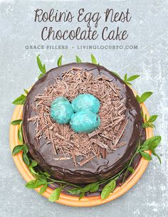 Robin's Egg #Chocolate Cake Recipe. A Great Spring Party Idea! #cake