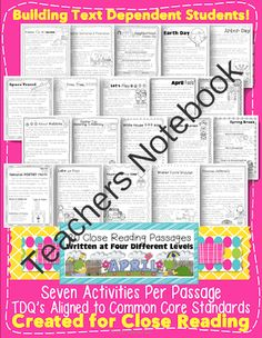 April Close Reading Passages for Text Evidence  (Earth Day, Easter, & More) from 247Teacher on TeachersNotebook.com -  (345 pages)  - Celebrate April with this unique unit designed specifically for Close Reading! Inside you will find 20 passages written at FOUR different levels. Each passage has seven pages of activities with a text evidence focus! Download the preview to see each lexil