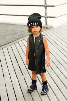 Something about the color black on children, looks so chic