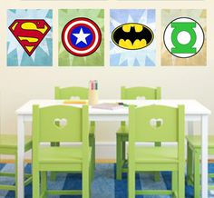 Superhero Logo Wall Art Decor / Boys Room - Superman, Green Lantern, Flash, Batman, Captain America, Spiderman - PRINTS batman wall art, boy superhero room, boy rooms, decorate boys room, babi room, superman room ideas, boys rooms superhero, wall art decor, superhero logo