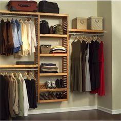 Something like this setup for far wall in closet.