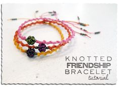 Knotted Friendship Bracelet w/ Shamballa style focal bead