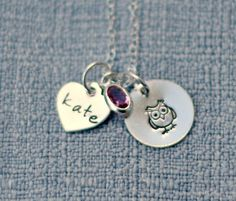 Owl Personalized Necklace Hand Stamped by 3LittlePixiesShoppe, $38.00