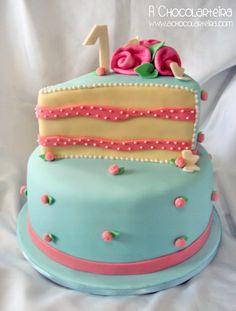 Girl 1st birthday cake