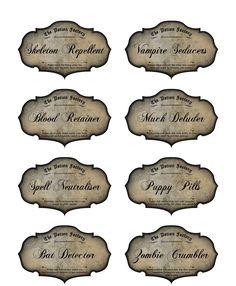 8 Potion Apothecary Labels Halloween Glossy Party Decoration Bat Zombie Vampire | eBay
