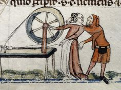 Detail of a bas-de-page scene of a woman at a spinning wheel being kissed by a man, from the Smithfield Decretals, Southern France (Toulouse?) with marginal decoration added in England, last quarter of the 13th century or 1st quarter of the 14th century, Royal 10 E. iv, f. 139