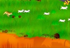 One day a wolf really comes and chases away the sheep - from the story of  'the boy who cried wolf' kid